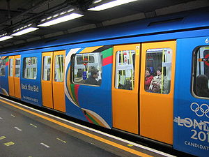 A London Underground train decorated to promot...